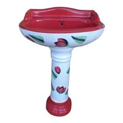 Belmonte Designer Pedestal Wash Basin Vinus - Red