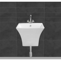 Belmonte Semi Pedestal Wash Basin Cubix - White