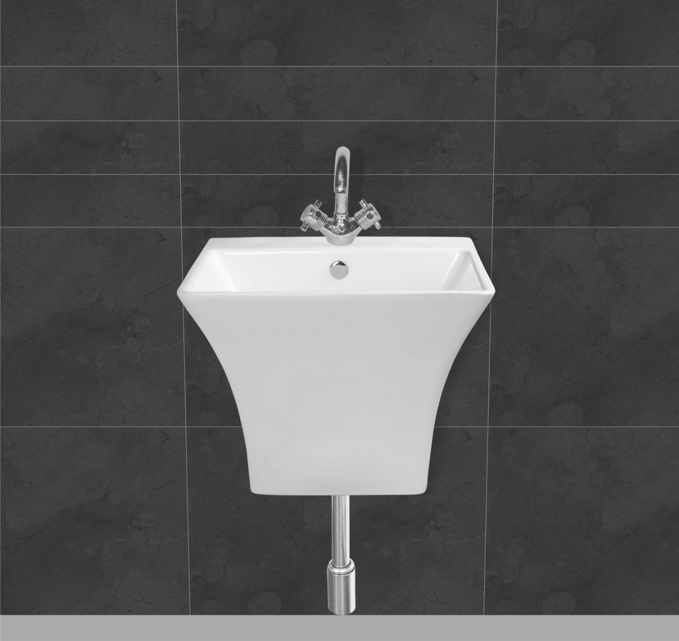 Buy Belmonte Semi Pedestal Wash Basin Cubix White